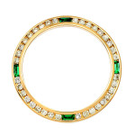 Ladie's Gold Emerald and Diamond Bezel